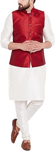 Royal Sojanya Hommes's Jackquard Silk Designer Nehru veste grand Mahroon