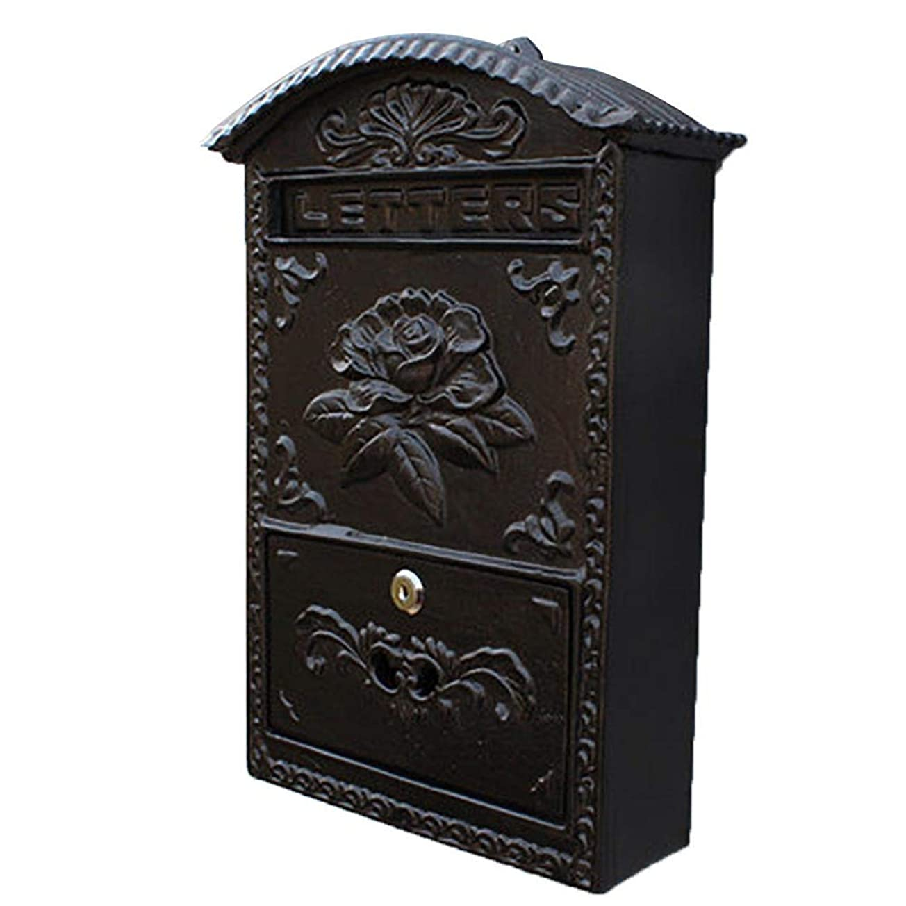 救出雇用拒否TINGTING 郵便受けア メールボックス ロック付き 牡丹の花意味豊富な金属レトロロック壁の装飾黒で苦しんで (色 : ブラック, サイズ さいず : 24.5*8.2*34.5cm)