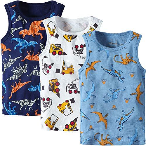 Adorel Jungen Unterhemden Baumwolle Ärmellos 3er-Pack Bagger & Dinosaurier 110 (Herstellergröße 130)