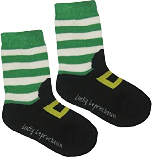 Kid's Socks With Leprechaun Foot Print, Black With Green And White Stripes