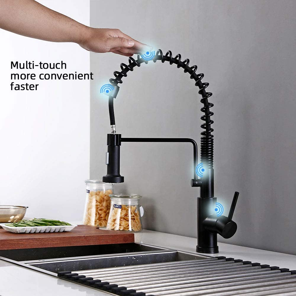 BAGNOLUX Touch On Kitchen Faucets with Pull Down Sprayer Brushed Stainless Steel Stainless Steel Touch Activated Faucet Single Handle Kitchen Sink Faucet with Pull Out Sprayer