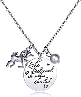 danjie Stainless Steel Horse and Pearl Pendant Necklace Letter Tag Necklace She Believed She Could So She Did Pendant for Girl and boy Inspirational Gift