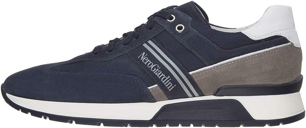 Nero giardini scarpe sneakers da uomo in pelle camoscio e tela E001484U 503