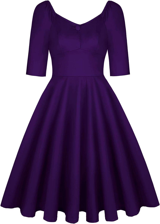 MINTLIMIT Women's Vintage 1950s Retro Rockabilly Prom Dresses 3/4 Sleeve Button Cocktail Dress Pockets
