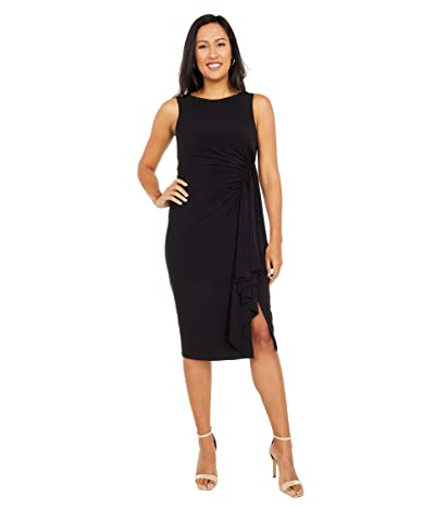 Vince Camuto Boatneck Midi with Side Ruffle (Black) Women