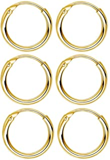 3 Pairs Sterling Silver Small Hoop Earrings Set Hypoallergenic Endless Cartilage Earrings Huggie Nose Lip Rings for Women Men Girls, 8mm 10mm 12mm