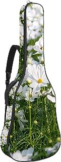 Multifickor akustisk gitarrväska tjock stoppning vattentät gitarrväska spelväska 109 x 43 x 12 cm, vita kosmos blommor