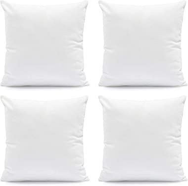 Hannah Linen Throw Pillows, 18 x 18 Pillow Insert Set of 4 - Throw Pillows for Couch & Bed - Soft & Comfortable Squar