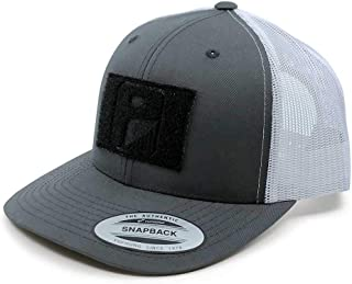 Tactical Hat | Authentic Snapback 2-Tone Curved Bill Trucker Cap | 2x3 in Hook and Loop Surface to Attach Morale Patches | 6 Panel | Charcoal Grey and White | Free US Flag Patch Included