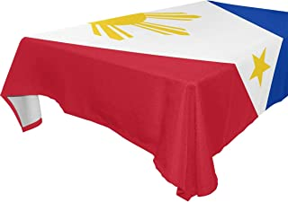 Philippine Flag Proud Rectangle Table Cover Polyester Tablecloth for Weddings Banquets Restaurants 60x120 inch