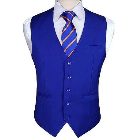 Enlision Men's Formal Party Wedding Waistcoat Solid Color Suit Vest Waistcoats for Men XS-4XL
