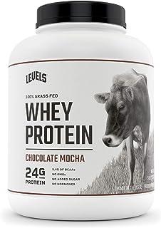Levels 100% Grass Fed Whey Protein, No GMOs, Chocolate Mocha, 5LB