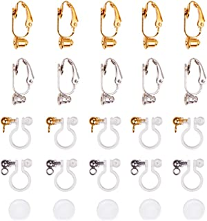 PandaHall Elite 12 Pcs Brass Clip-on Earring Converter and 12 Pcs Clear Plastic Earring Converter Component with 24 Pcs Ear Pads Silicone Comfort Earring Cushions for Non-Pierced Ears