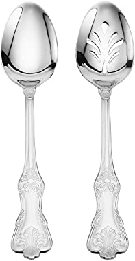 Wallace Hotel Lux 77-Piece 18/10 Stainless Steel Flatware Set, Silver, Service for 12 -