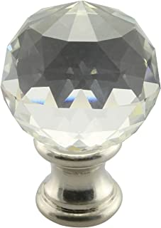 DZS Elec 1PC Lamp Topper Shade Finial Clear Crystal Cut Faceted Brushed Nickel Finish 1-3/4 Inch Lamp Finial