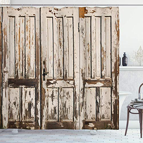 Fabric Shower Curtain Liner with Hooks Rustic Vintage House Entrance with Vertical Old Planks Distressed Rustic Hardwood Design Brown White Waterproof Curtains Set for Bathroom Decor 72 X 72''
