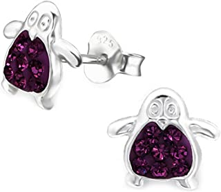 Cute Crystals Penguin Earrings Studs Girls Sterling Silver 925 (E5420)