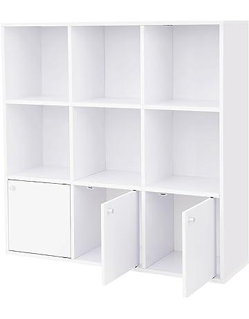 homcom Scaffale Libreria Organizzatore Armadietto a Scomparti per Bambini con cassetto Scomparto in MDF P2 Rosa 80 x 34 x 130cm