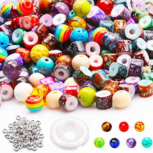 YUGDRUZY Bracelet Making Beads Bulk, 550PCS Waist Pony Beads,Wooden Chakra Bead,Acrylic Glass Beads,Colorful Lava Beads with Spacer Beads Elastic String for Adult DIY Jewelry Making Supplies