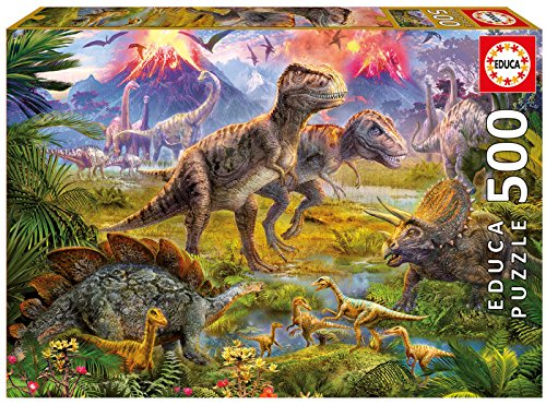 Educa - Genuine Puzzles, 500 piezas, Encuentro de dinosaurios (15969)