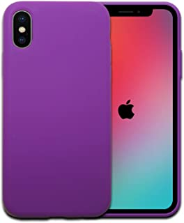 YOOTH Best Silicone Case for Apple iPhone X XS, Anti-Scratch, Soft Microfiber Lining Cushion, Cute Stylish Lightweight Full Body Protective, Supports Wireless Charging, Shockproof (Purple).