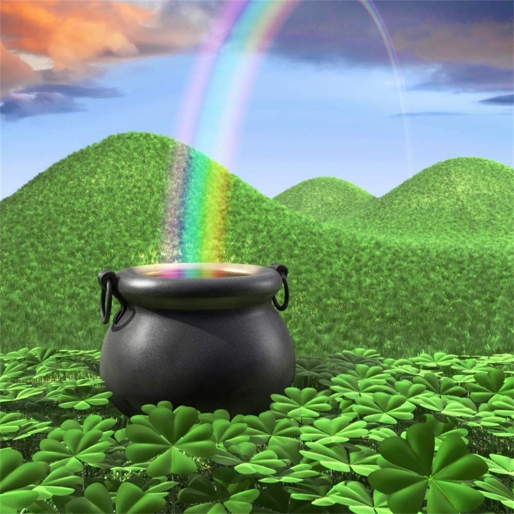 Yeele 6x6ft St Patricks Day Backdrop for Photography Lucky Green Clover Shamrock Spring Hill Meadow Rainbow Background Kids Children Adult Photo Booth Shoot Vinyl Studio Props