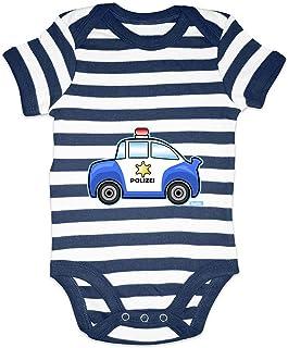 HARIZ HARIZ Baby Body Streifen Polizei Auto Bagger Eisenbahn Plus Geschenkkarten Weiß/Navy Blau 6-12 Monate