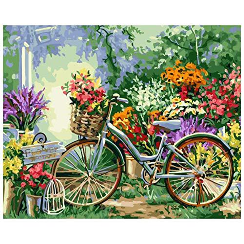 FiedFikt DIY Digitale Olie Schilderen Mooie Fiets Vul Kleur Schilderen Door Nummers Schilderij Kit Kleurplaten Nummers Schilderij Foto Set Home Decoratie (A)