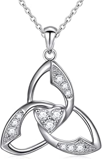 925 Sterling Silver Good Luck Irish Claddagh Celtic Knot Love Heart Pendant Necklace for Women Girls Ladies Birthday Gift, 18