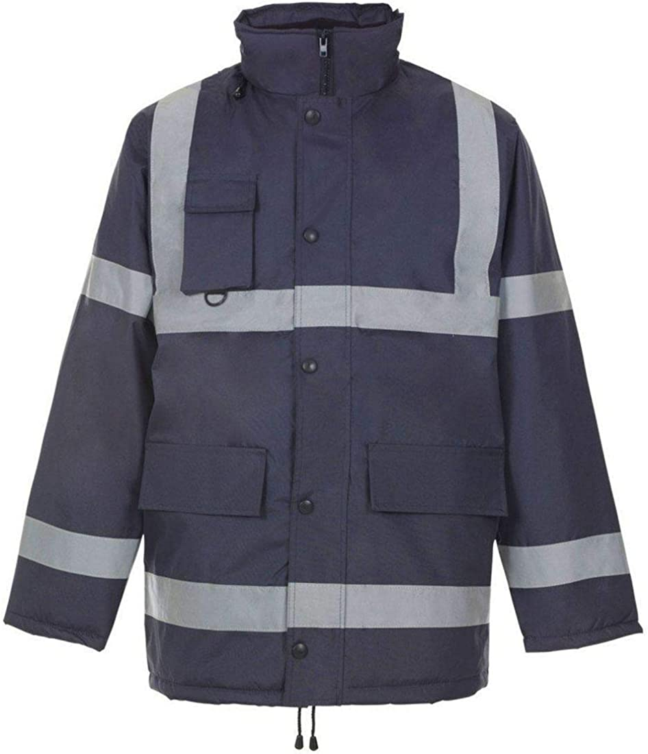 Spinbit Adults Hi Vis Safety Parka Jacket with Tap Long Sleeve Reflective Work Wear Top