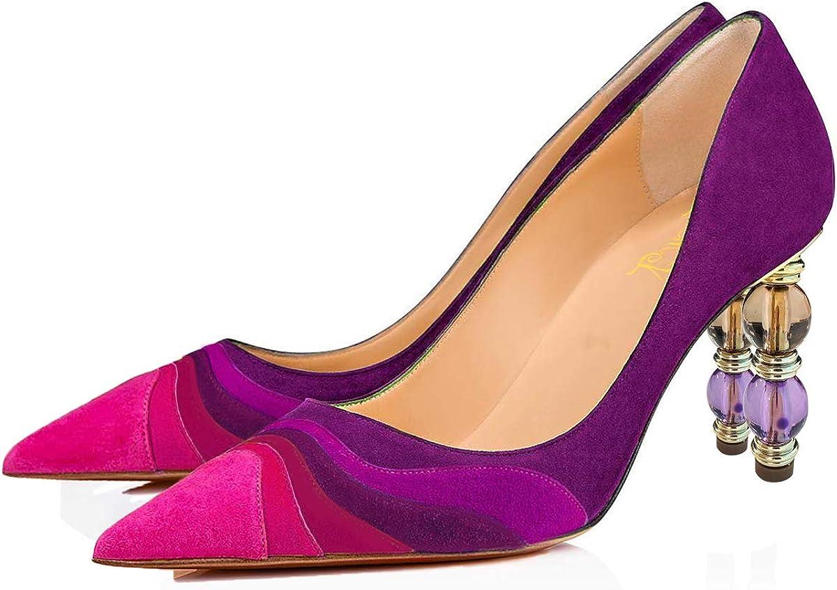 FOWT Women Rainbow Color Stripes Block Mid on Po Heel Slip Pumps 2021new shipping Max 63% OFF free