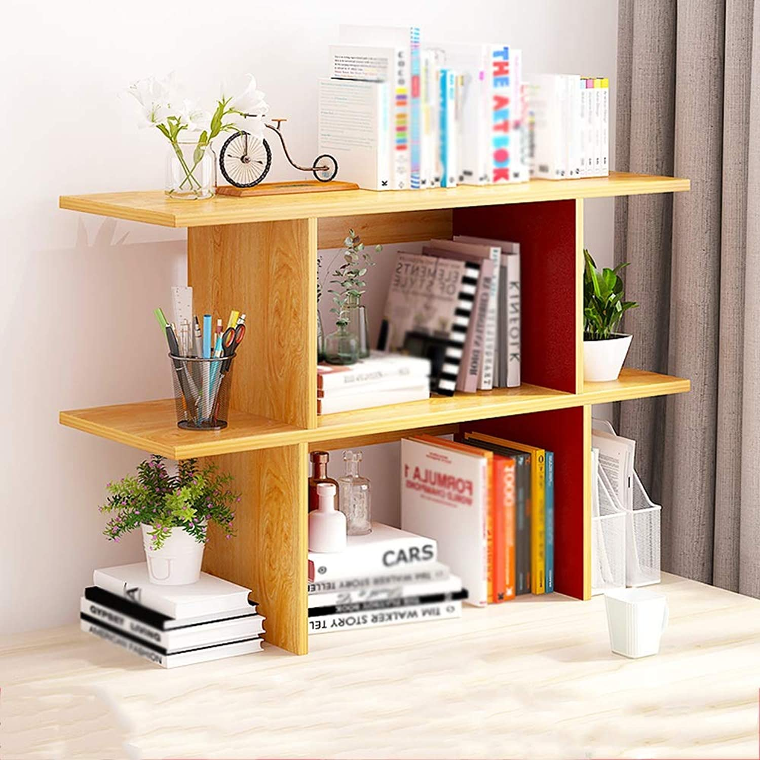 CL Simple Modern Desktop Solid Wood Shelf Multi-Function Bookshelf (Three Sizes to Choose from) Bookshelf (Size   B-90cm)