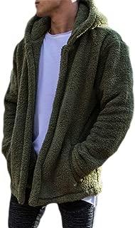 Mens Fuzzy Sherpa Fleece Hoodie Lightweight Jacket Open Front Cardigans Coat with Pockets