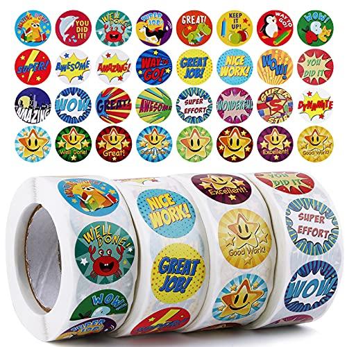 UFLF 2000pcs 2.5cm Pegatinas Recompensa Niños Pegatinas Motivación Infantil Palabras Etiquetas Adhesivas Redondas Sticker...