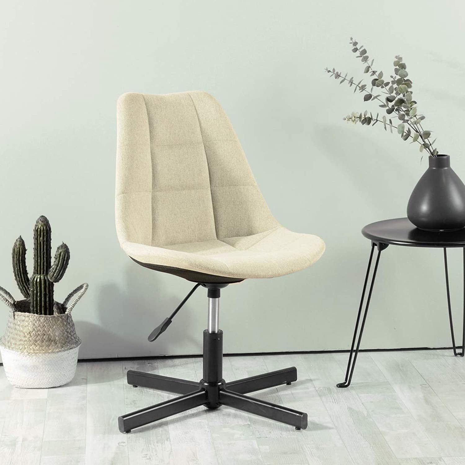 Adjustable Task Office Tub Chair Black Metal Base Leg (Beige Fabric)
