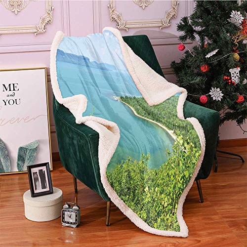 Lake Forest Sherpa Blankets 40'X50',Lake Superior Panoramic Holiday Landscape Lightweight Fluffy Flannel,for Sofa Couch Bed Blanket(Lime Green Fern Green Pale Azure Blue Pale Blue)