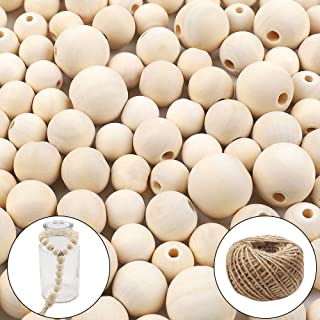 DICOBD 150pcs Natural Wooden Beads Round Beads with 1 Roll 20 Meters Jute Twine for DIY Jewelry Making Home Decoration(16mm, 20mm, 25mm)