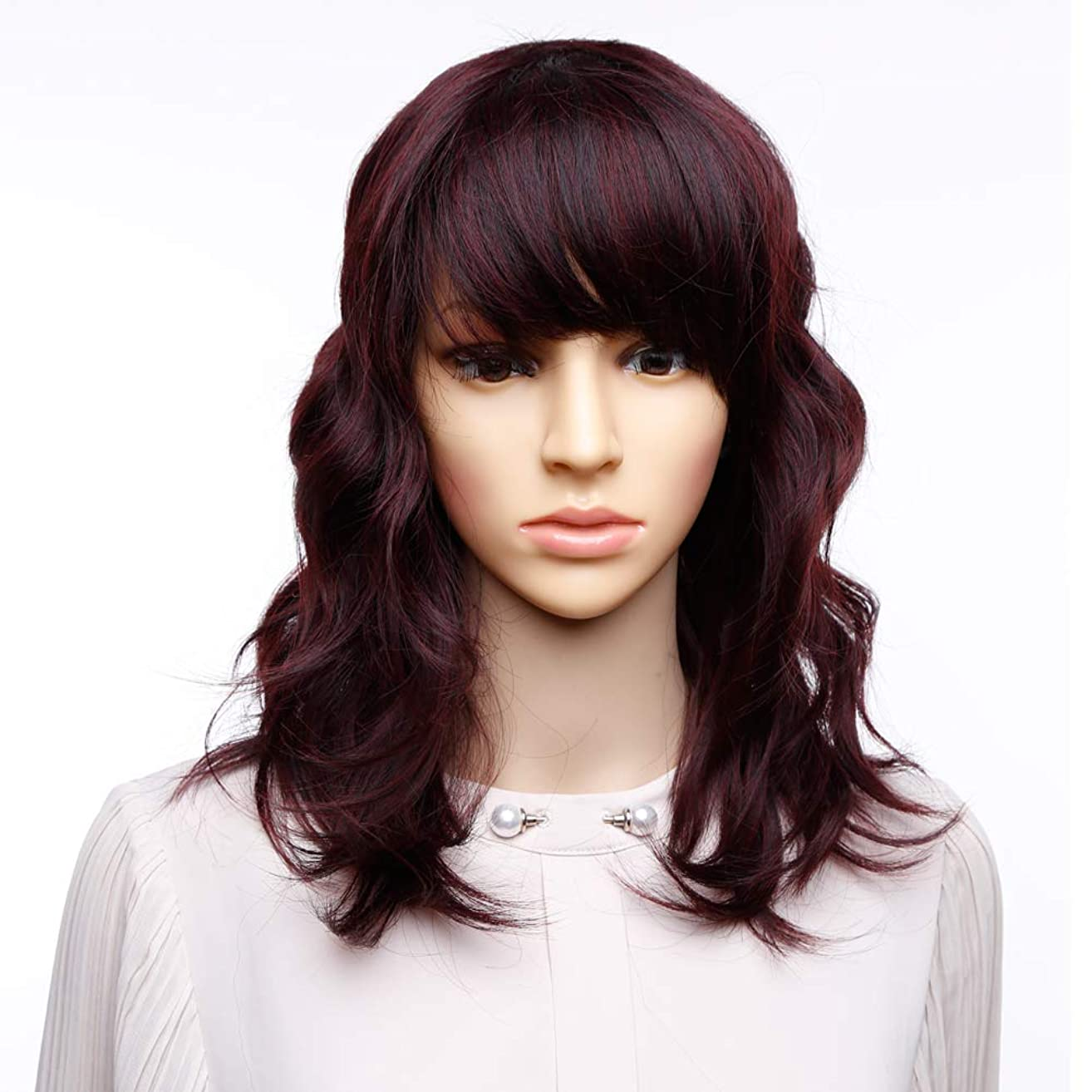 Bob Curly Wig Synthetic Short Red Wig with Bangs Brown Wavy Natural Looking Shoulder Length with layers Fringe Daily Use Fiber Hair for Women (99J)