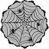 Soochat Halloween Lace Tablecloth, Black Lace Table Topper with Spider Web, Halloween Table Decoration Parties Scary Movie Nights 40 Inch