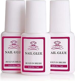 Makartt 3 Pcs Nail Glue for Acrylic Nails, Super Brush on Nail Glue Kit Bond Quickly, Artificial Nail Adhesive Glue for Nail Repair, S-09
