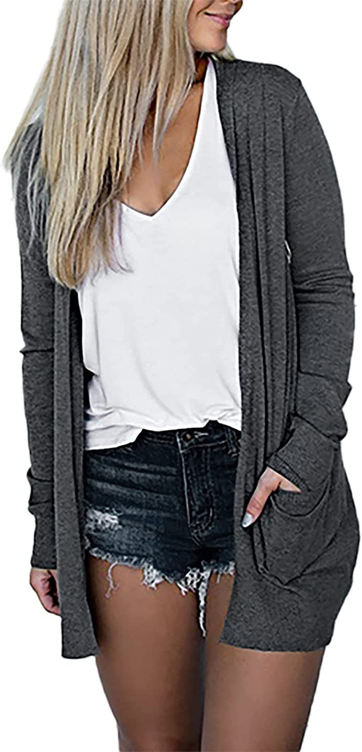 Womens V-Neck Open Front Cardigan Solid Long Sleeve Coats Loose Fit Pocket Casual Outerwear Sexy Sweater