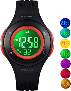 Digital Watches for Boys Girls, 5ATM Waterproof Kids Sports Watch with Alarm/Multi-Color LED Luminous, Children Digital Wrist Watches