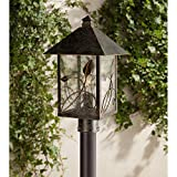 French Garden Country Cottage Post Light Bronze Leaf and Vine Motif 17' Clear Seedy Glass for Exterior Garden Yard - Franklin Iron Works