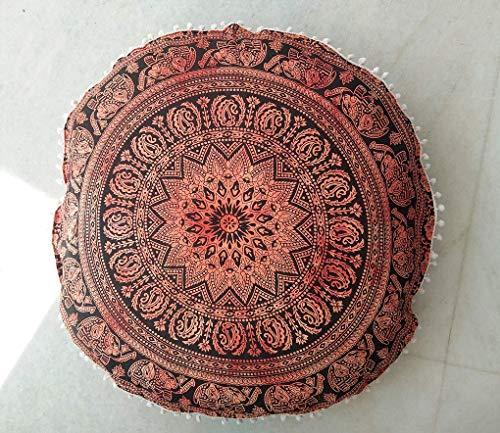 Radhy Krishna Fashions - Funda de cojín para el Suelo (81 cm), diseño Indio, Color Naranja