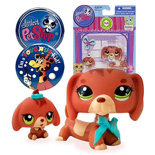 Littlest Pet Shop Pet Dachshund and Baby Dog # 3601 with LPS and Toys R Us Kid Exclusive Party Favor Souvenir Collectible Pins
