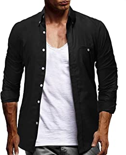 Men Solid Long Sleeve Shirt Tops, Male Fashion Button Turn-down Neck Large Size T-shirt Blouse Tunic Top
