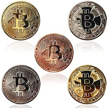 5Pcs Bitcoin Coin Physical Bitcoin Blockchain Cryptocurrency Commemorative Tokens Chase Coin BTC Collector Business Gift Include Gold Rose Gold Silver