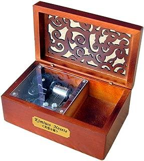 YouTang Music Box Creative Hollow Cover 18-Note Clockwork Wooden Musical Box,Musical Toys,Play Tori No Uta(Silver Movement)