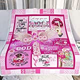 God Cross & Pink Breast Cancer Awareness Ribbon Blanket I Can Do All Things Through Christ Who Strengthen Me Jesus Christ Blanket for Breast Cancer Warrior Breast Cancer Survivor