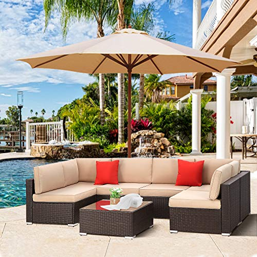 SUNCROWN Patio 7 Piece Sectional Sofa Set All-Weather Black Brown PE Wicker Full Back Outdoor Set with Waterproof Cover, Washable Cushions and Glass Coffee Table for Balcony, Backyard, Porch, Garden